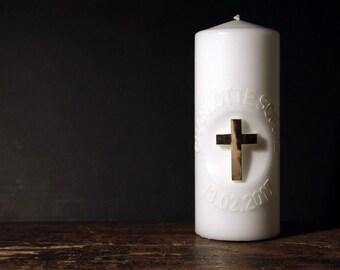 "Wedding candle ""Cross"" (20 x 8) gold shiny, circular font"