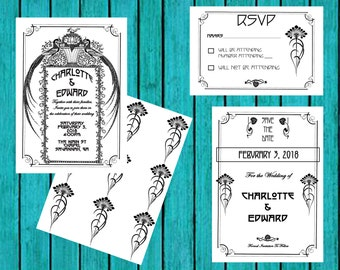 Custom Printable Art Deco/Art Nouveau Wedding Invitation Set