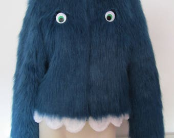 KEITH MONSTER Faux Fur JACKET kaiju coat kawaii Cute 10 12 vintage retro lolita eye alien punk goth Japanese muppet Sesame street inc Sully