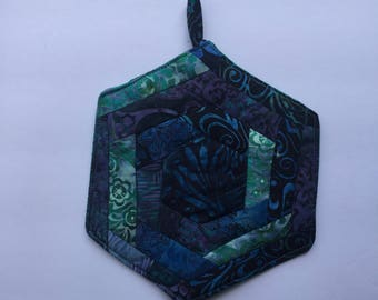 Hexagon Batik Cattails Potholder