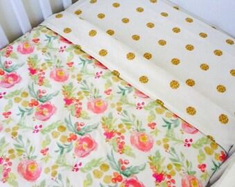 Reversible Floral / Gold Dots Cot Blanket Quilt
