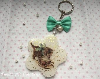 Resin Kitty Keychain