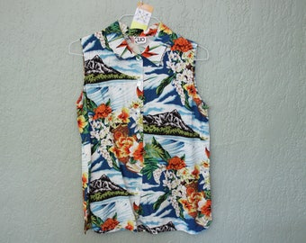 Vintage Sleeveless Hawaiian Top *Flat Rate Shipping* [Cute Vintage Top Shirt Blouse Women's Size Large] Rayon