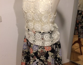 20% off! Summer sale: original vintage outfit rock flower power 70 and crochet top White suitable for use from the 80s Coachella!