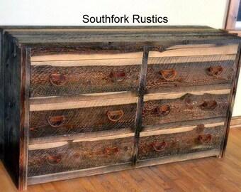 Barnwood 6 drawer dresser, faux barnwood dresser, rustic bedroom furniture