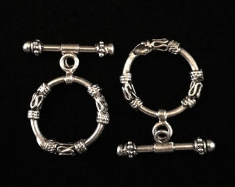 Silver Toggles, Silver Clasps, Antique Silver Plated Toggle, Clasps, Toggles - 2 Sets