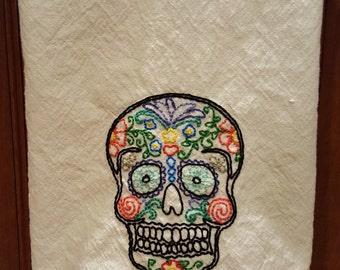 Retro Kitchen Towel- Hand Embroidered, Sugar Skull