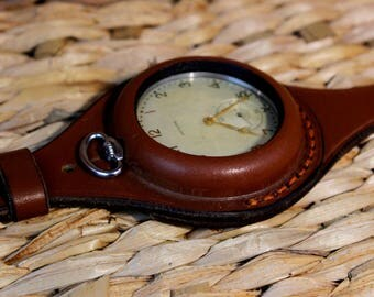 Antique WW1 times New Leather STRAP Band WRISTBAND For Pocket Watch 55-58mm WWII