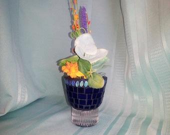 Mosaic Plant Pedestal for Flower Arrangement