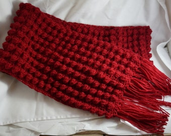 Red Soft Hand-Knitted Wool Scarf - Long & Chunky - Winter Special - Knitted With Love - Wool Yarn