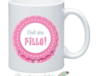 Mug is a girl pregnancy #8 customizable baby birth announcement