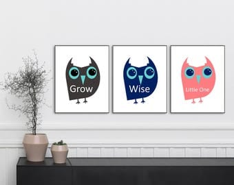 Grow Wise Little One, Owl Prints, Nursery Print, Nursery Art, Nursery Decor, Nursery Wall Art, Set 3 Prints