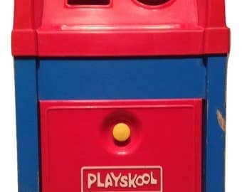 Playskool Postal Station Pretend Play 1969 no blocks just mailbox FREE SHIPPING