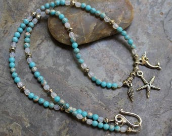 "Necklace with sea life charms 20.5"", turquoise blue impression jasper beads, Swarovski white opal, silver hook clasp, N006"