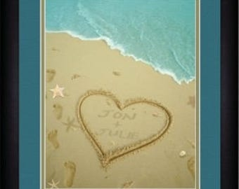 Name In The Heart - Heart In The Sand - Personalized Print