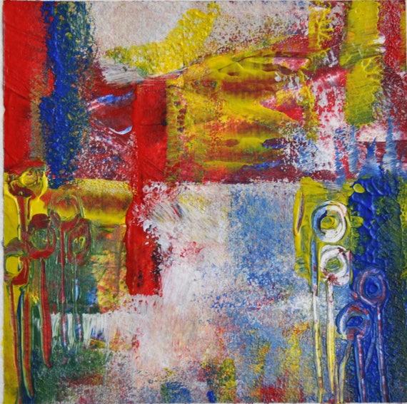 Original pintura acr lica abstracta serie peque os cuadros - Cuadros abstractos paso a paso ...