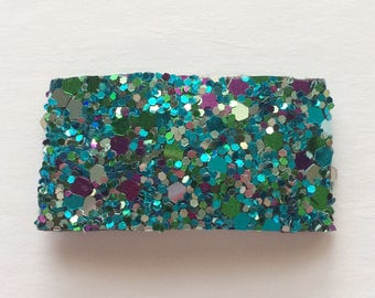 Mermaid sparkle multi glitter snap clip OR alligator clip