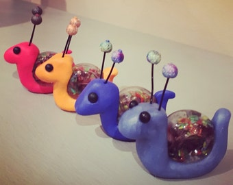 Rainbow snail with glass shell, polymer clay figure for display on your happy shelf, ferrari red, royal blue, bright orange and purple