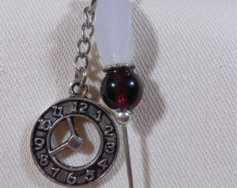 Stickpin with Antiqued Silver Clock Charm and Snowy Quartz Bead (purple accent)