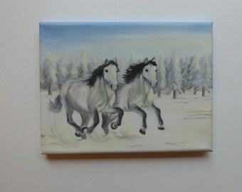 "New ""Snow horses"" 18 x 23 cm-oil painting Sabine Neubarth Wamono horses original contemporary Tieere"