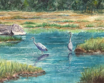 """wildlife art print of watercolor painting titled """"Wading and Waiting"""",  giclee, Great Blue Herons in a Marsh"""