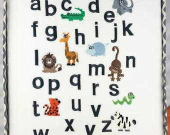 Childrens alphabet, Safari Animal alphabet, Nursery decor