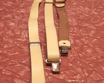 BANANA MEDICINE 1980's pastel yellow leather suspenders with silver coloured findings