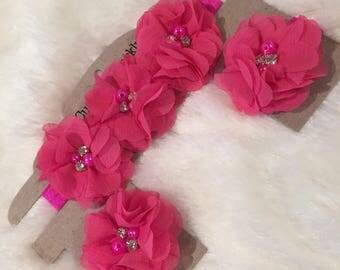 3pc Flower Headband and Flower Barefoot Sandals Set