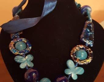 Blue fantasy necklace