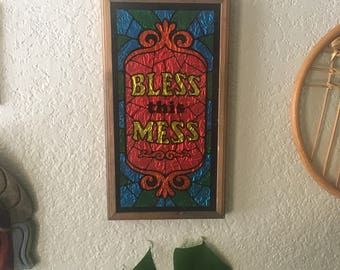 """Framed """"bless this mess"""" picture"""