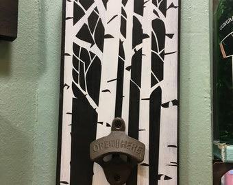 aspen tree beer bottle opener