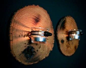 Wood Slice Wall Sconce Votive Tea Light Candle Holder - Set of TWO! FREE SHIPPING!
