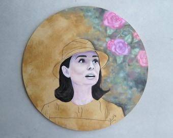 Painting- Audrey Hepburn Original Oil on wood 30cm x 30cm