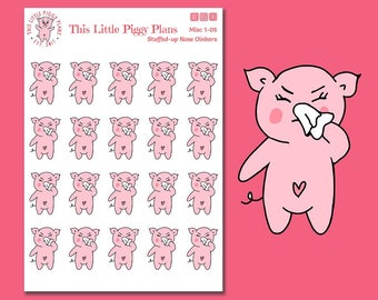 Oinkers has a Stuffed-up Nose - Sick Day Planner Stickers - Stuffy Nose - Tissue Stickers - Pig Stickers - Runny Nose Stickers - [Misc 1-05]