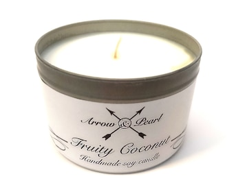 Fruity Coconut Scented Handmade Soy Tin Candle