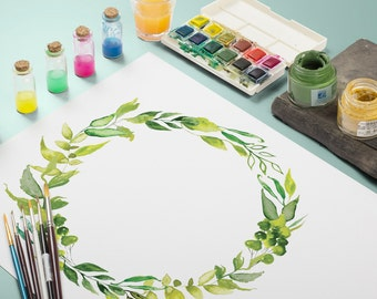 Green Leaves Watercolor Clipart - Wreath and Frame, Leaves Floral, Hand Painted, Instant Digital download