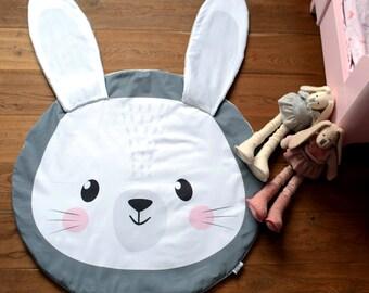 Baby Play Mat - Amazing Rabbit || Original Design, Handmade Creation, rabbit play mat, baby play mat, round playmat play mat