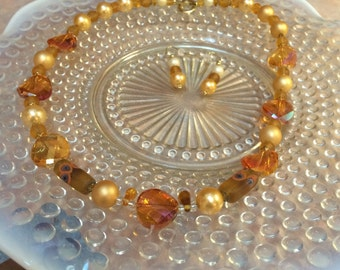 Elegant Amber Necklace & Earrings,elegant,mother of the bride,one of a kind,eye catching,beaded necklace set.