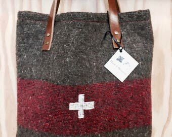 Hank Henrietta Swiss Army Blanket Upcycled Carry All Bag, Shopper, Leather Handles, Repurposed Military, Gift for Her