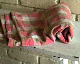 Pink Plaid Flannel Baby Blanket - Receiving Blanket - Nursing Blanket - Pink Crib Blanket - Baby Girl Shower Gift under 20