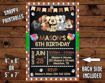 Dog Birthday Invitation, Dog Birthday Invite, Dog Party Invite, Printable, Digital File - 004