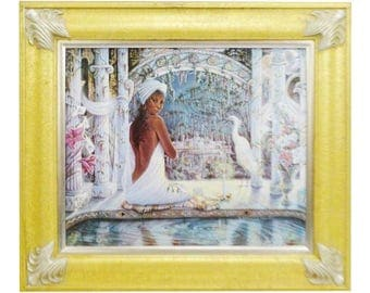 Vintage Framed Lithograph on Canvas Titled Tranquility by Jonnie K.C. Chardonn