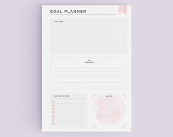 Goal Planner Page - A4/A5/US Letter Sizes - Printable - Beautiful Clean Goal Planner - Desk Planner - INSTANT DOWNLOAD