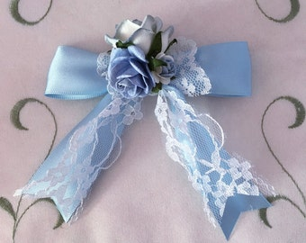 Light blue ribbon hair rose lace bow alligator hair clip with tails