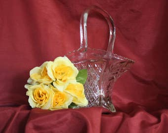 Vintage Glass Bride Basket or Berry Bowl, Clear Pressed Glass
