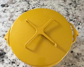 Dansk Kobenstyle Yellow Enamel Lidded Pan 9x9x4
