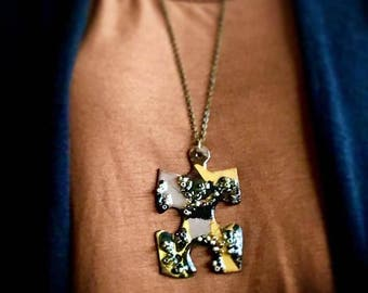 Handmade Puzzle Jewelry, Handmade Necklace, Modern Design, Great Gift, New Trend For Women, Cool for Young Girls, Handmade Accessories
