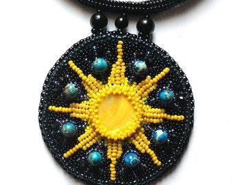 Beaded pendant necklace Beads jewelry Beadwork jewelry Bead embroidered jewelry Pendant handmade Large pendant Medallion pendant BeadsIdeas