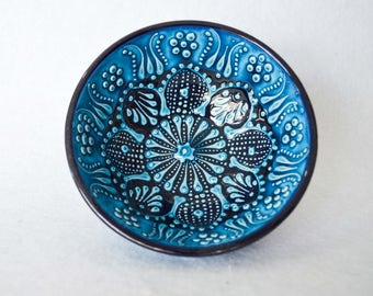 Ceramic Turquoise Nut Bowl, Blue Serving Plate,Porcelain Art Studio Pottery Dish, Floral Design, Housewarming Gift, Wedding Gift