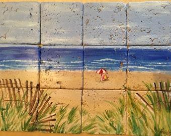 Beach Scene Tumbled Marble Tile Mural